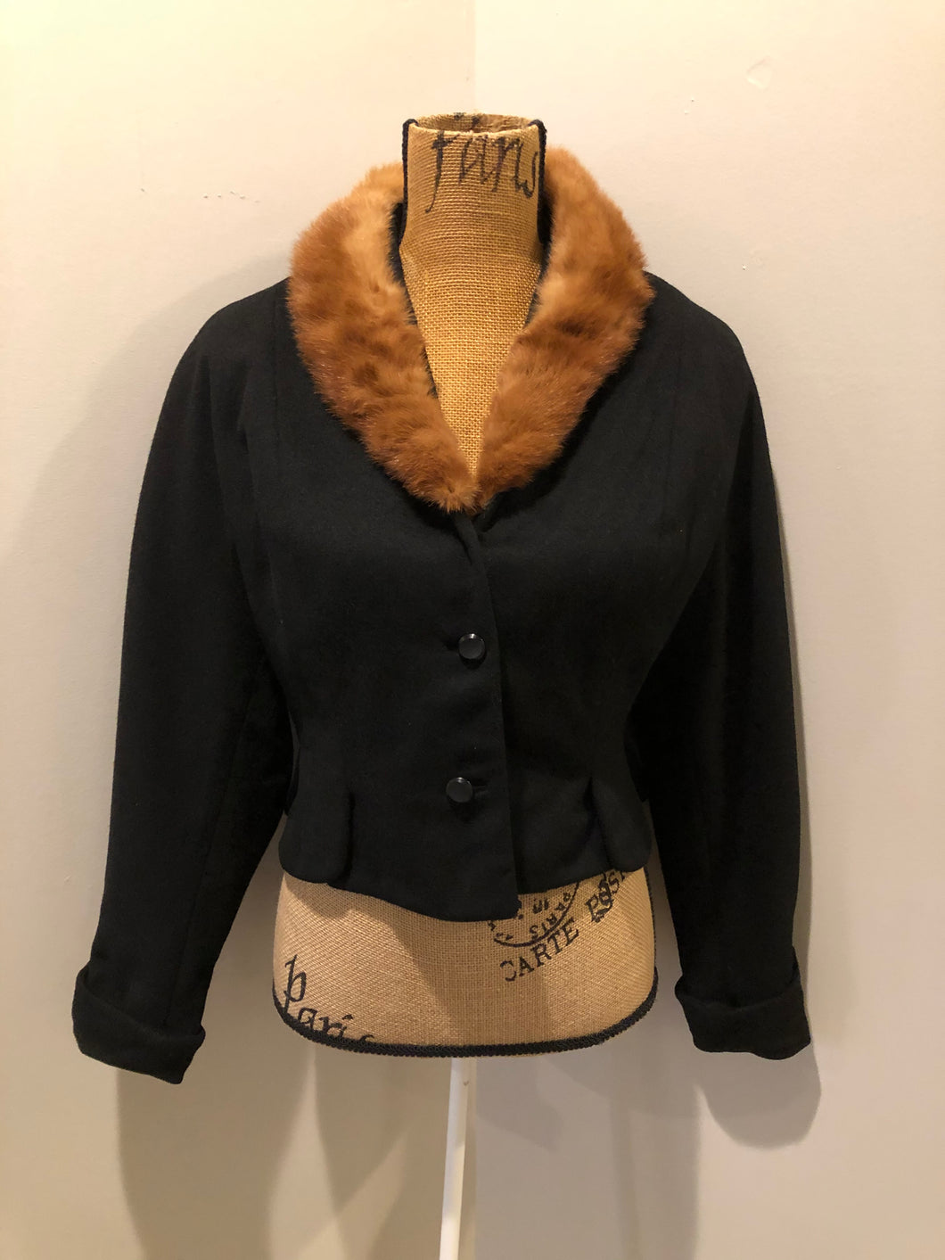 Vintage 60's Cropped Wool Jacket with Fur Collar