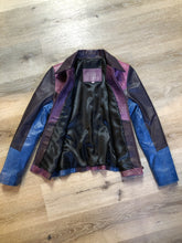 Load image into Gallery viewer, Vintage Purple and Blue Leather Jacket