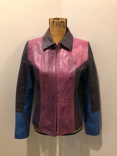 Kingspier Vintage - Vintage purple and blue panel leather jacket with slash pockets. Size small.