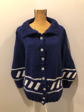 Load image into Gallery viewer, Hand Knit Blue and White Cardigan