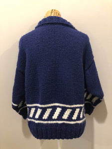 Hand Knit Blue and White Cardigan