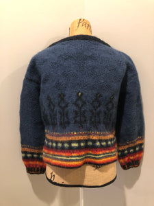"Kingspier Vintage - Emma ""Kalveness Designs Ltd."" felted wool cardigan in navy blue with multi-coloured designs and silver button closures. Made in Canada. Size Small, medium."