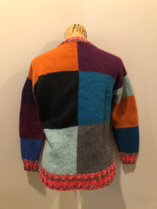 Hand Knit Multi-colour Patch-Work Cardigan