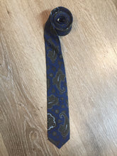 Load image into Gallery viewer, Vintage Abbey Blue and Green Paisley Tie