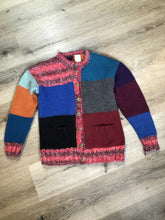 Load image into Gallery viewer, Hand Knit Multi-colour Patch-Work Cardigan