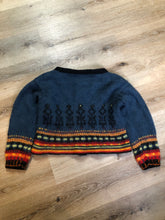 "Load image into Gallery viewer, Kingspier Vintage - Emma ""Kalveness Designs Ltd."" felted wool cardigan in navy blue with multi-coloured designs and silver button closures. Made in Canada. Size Small, medium."