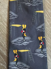"Load image into Gallery viewer, Kingspier Vintage - Looney Toones grey 100% silk tie with Daffy Duck Print. Made in Italy.  Length: 61.5""  Width: 3.75""   This tie is in excellent condition."