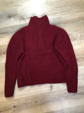 Load image into Gallery viewer, Kingspier Vintage - Burgundy mantles quarter button down lambswool and cashmere blend Sweater. 95% lamb and 5% cashmere. Size medium.