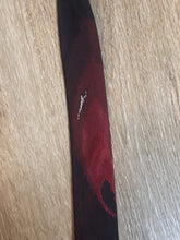 "Load image into Gallery viewer, Kingspier Vintage - Park Lane deep red 100% silk tie with peacock feather motif. Made in Québec.  Length: 53.5""  Width: 1.5""   This tie is in excellent condition."