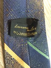 Load image into Gallery viewer, Vintage Watson Bros Blue with Green and Orange Diagonal Stripe Tie