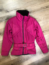"Load image into Gallery viewer, Kingspier Vintage - Nils Skiwear magenta ski jacket with belt, black velvet lined collar, zipper closure, flap pockets, diagonal zip chest pockets and an inside pocket. Size 6   Shoulder to shoulder - 17"" Shoulder to wrist - 23"" Under sleeve - 20"" Chest - 19"" Arm to hem -15"" Bottom hem - 20""  *All items have been laid flat to measure.  This coat is in excellent condition."