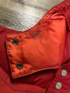 Kingspier Vintage - Vintage Jackpot by Carli Gry red down-fIlled puffer jacket with hood, zipper closure, flap pockets, zip pockets and three inside pockets large enough to fit an included small lightweight backpack,