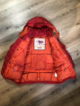 Load image into Gallery viewer, Kingspier Vintage - Vintage Jackpot by Carli Gry red down-fIlled puffer jacket with hood, zipper closure, flap pockets, zip pockets and three inside pockets large enough to fit an included small lightweight backpack,