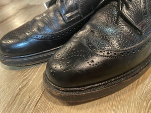 Kingspier Vintage - Black Full Brogue Wingtip Derbies by Hartt - Sizes: 8M 10W 41EURO, Canada's Quality Shoemakers, Made in Canada, Leather Soles, Biltrite Rubber Heels
