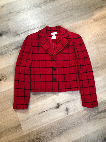 "Vintage Ann Taylor red and black plaid wool jacket with button closures and one chest pocket. Size small.   Shoulder to shoulder - 17.5"" Shoulder to wrist - 22.5"" Under sleeve - 16.5"" Armpit to armpit - 19"" Armpit to hem - 10.5"" Bottom hem - 16""  *All items have been laid flat to measure.  This Jacket is in excellent condition."