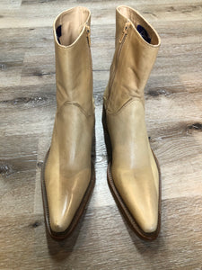 Baci Beige Leather Cowboy Style Ankle Boots