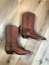 Load image into Gallery viewer, Kingspier Vintage - Double H brown leather motorcycle boots.  Size 8.5 Mens  The uppers and soles are in excellent condition, as new.