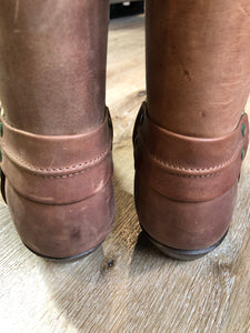 Kingspier Vintage - Double H brown leather motorcycle boots.  Size 8.5 Mens  The uppers and soles are in excellent condition, as new.