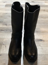 Load image into Gallery viewer, Kingspier Vintage - Boulet black motorcycle boots with harness strap and rounded toe. Made in Canada.  Size 9 Mens   The uppers and soles are in excellent condition.