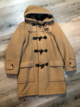 Load image into Gallery viewer, Kingspier Vintage - Deadstock Hudson's Bay Company duffle coat in camel with wooden toggles, flap pockets, zipper closures and hood.
