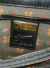 "Load image into Gallery viewer, Kingspier Vintage - Stephane black leather crossbody bag with adjustable strap five compartments, two with zippers magnetic snap front closure.  Length - 7.5"" Width - .2.5"" Height - 5.5"" Strap - 47"" - 45.5""  This purse is in excellent condition."