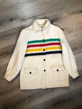 Load image into Gallery viewer, Vintage Hudson's Bay Company point blanket jacket in iconic multi-stripe colours with flap pockets and button closures. Mens size small.