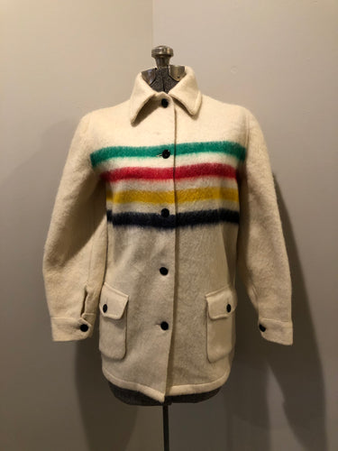 Vintage Hudson's Bay Company point blanket jacket in iconic multi-stripe colours with flap pockets and button closures. Mens size small.