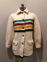Load image into Gallery viewer, Kingspier Vintage - Vintage Hudson's Bay Company point blanket jacket in iconic multi-stripe colours with flap pockets and button closures. Mens size small.