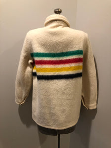 Kingspier Vintage - Vintage Hudson's Bay Company point blanket jacket in iconic multi-stripe colours with flap pockets and button closures. Mens size small.