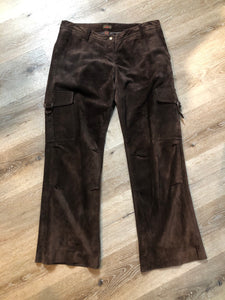 Kingspier Vintage - Danier brown suede straight leg cargo pants with snap closures, front and back pockets and side pockets