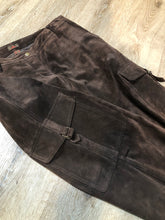 Load image into Gallery viewer, Kingspier Vintage - Danier brown suede straight leg cargo pants with snap closures, front and back pockets and side pockets
