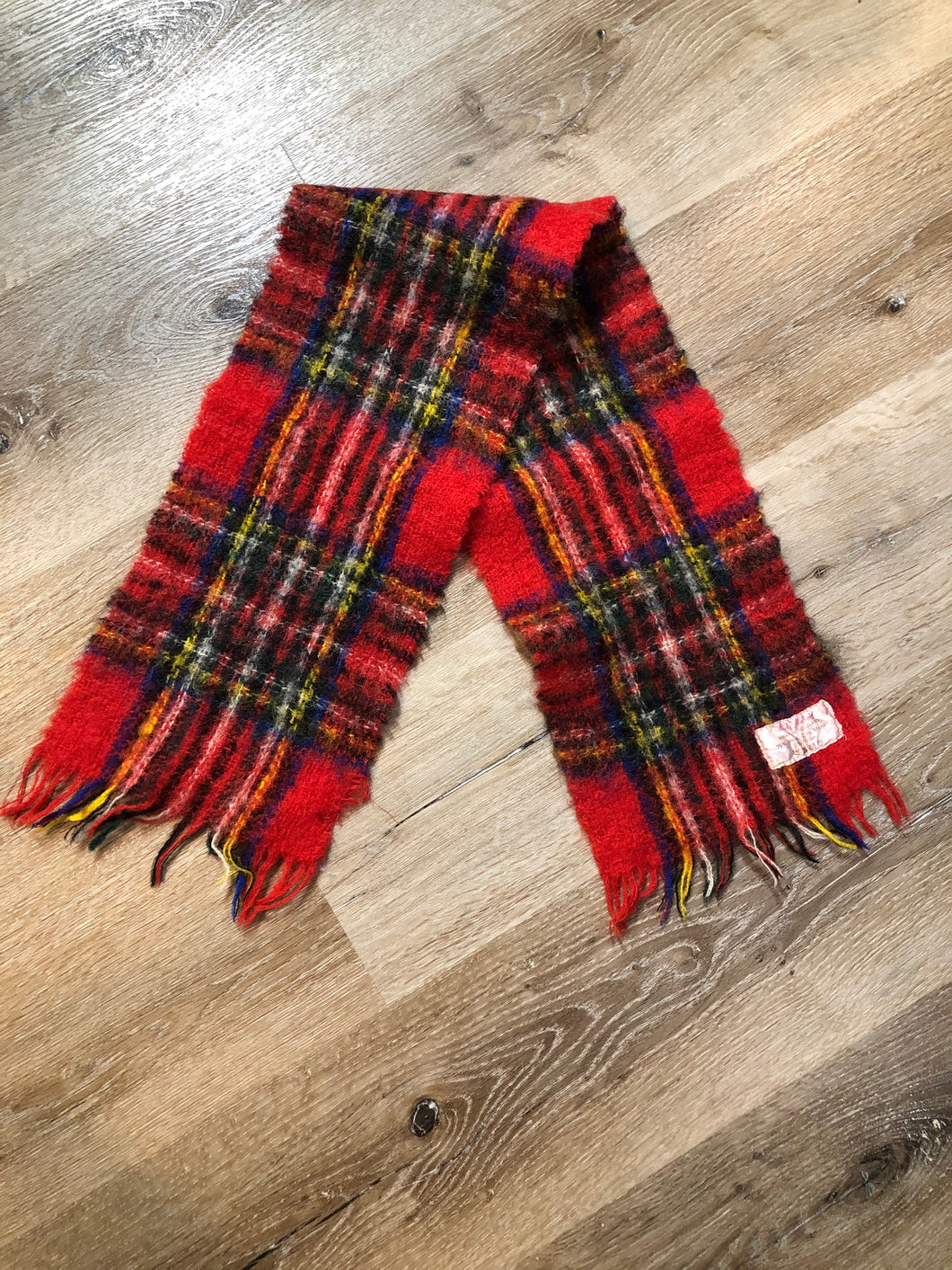 Kingspier Vintage - Vintage mohair blend red plaid scarf. Made in Scotland.