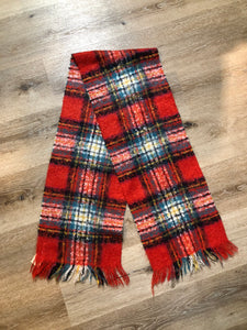 Simon's Red Plaid Mohair Blend Scarf