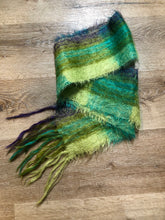 "Load image into Gallery viewer, Kingspier Vintage - Handmade green, teal and purple plaid scarf.  Length - 70"" Width - 6""  Scarf is in excellent condition."