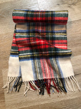 Load image into Gallery viewer, Kingspier Vintage - Vintage Shetland white, red, black, blue and yellow plaid wool scarf.