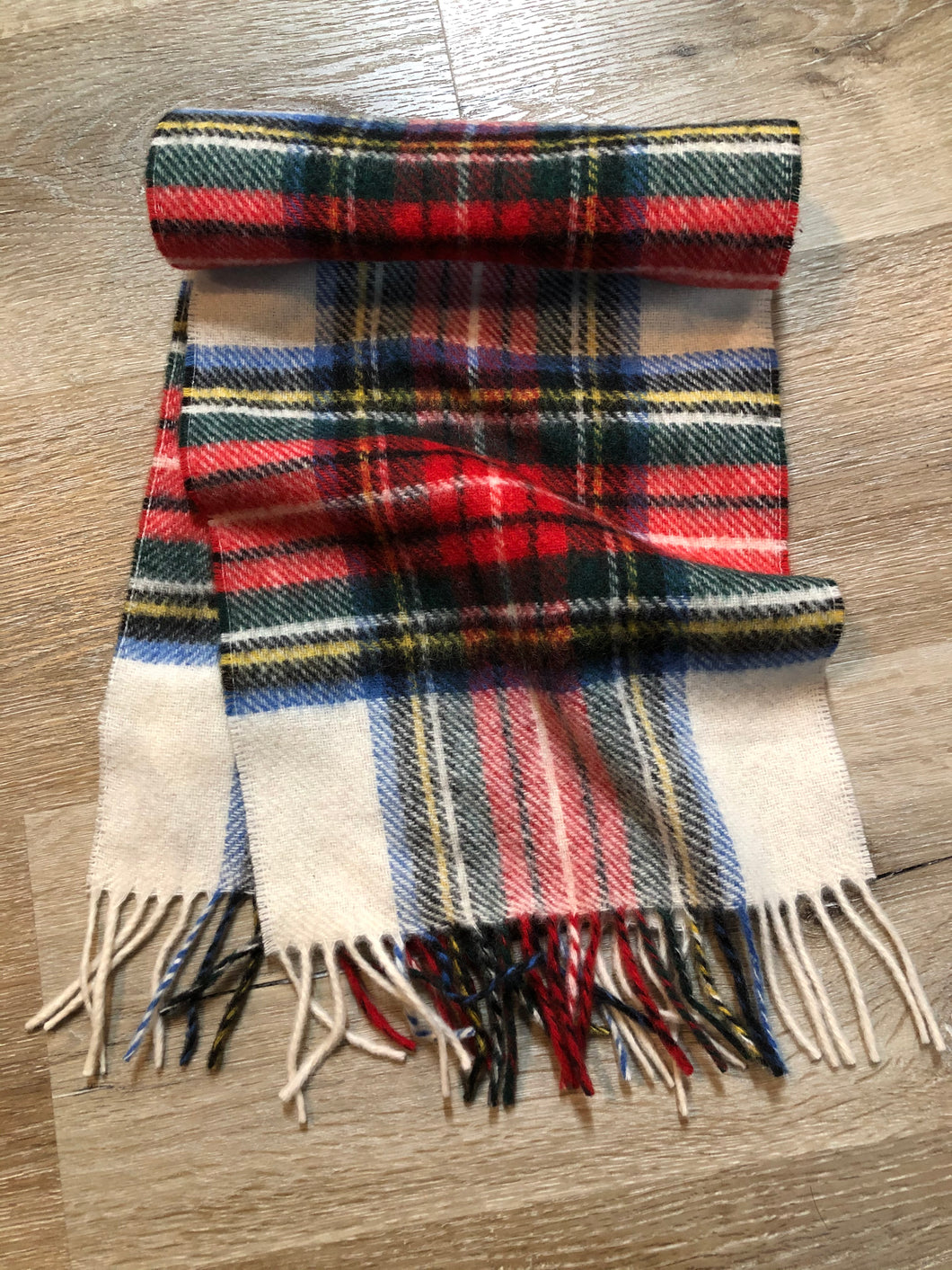 Kingspier Vintage - Vintage Shetland white, red, black, blue and yellow plaid wool scarf.
