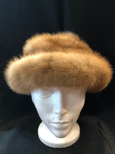 Kingspier Vintage - Vintage Christine Originals blonde fur roller hat. Interior lined in brown floral embroidered nylon mesh. Made in Montreal, Canada. Size small.  This hat is in excellent condition.