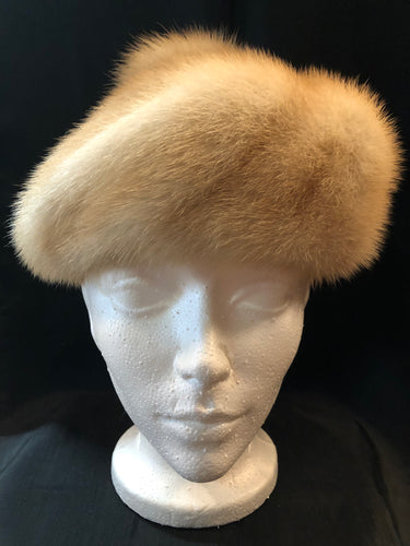 Kingspier Vintage - Vintage Christine Originals Blonde fur hat with fur pom pom. Interior lined in brown floral embroidered nylon mesh. Union made in Montreal, Canada. Size small.  This hat is in excellent condition.