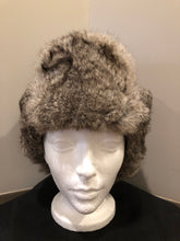 Load image into Gallery viewer, Kingspier Vintage - Vintage Crown Cap grey rabbit fur and navy wool blend trapper hat with quilted lining. Made in Manitoba, Canada. Size Medium.  This hat is in excellent condition.