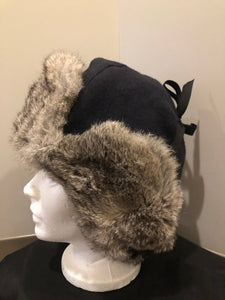 Kingspier Vintage - Vintage Crown Cap grey rabbit fur and navy wool blend trapper hat with quilted lining. Made in Manitoba, Canada. Size Medium.  This hat is in excellent condition.