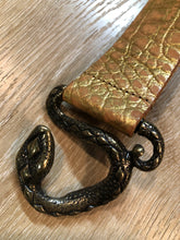 Load image into Gallery viewer, Gold Croc-Embossed Leather Belt with Snake Buckle
