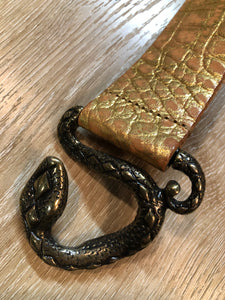 Gold Croc-Embossed Leather Belt with Snake Buckle