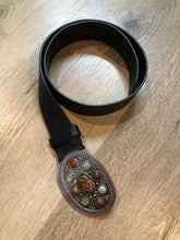 Load image into Gallery viewer, Brown Leather Belt with Floral Tooling and Stone Buckle