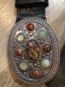 Brown Leather Belt with Floral Tooling and Stone Buckle