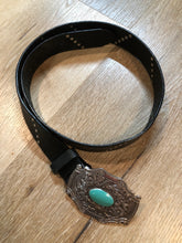 Load image into Gallery viewer, Black Leather Butterfly Belt with Turquoise Stone