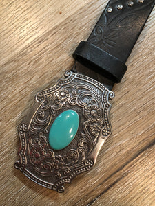 Black Leather Butterfly Belt with Turquoise Stone