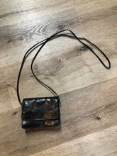 Load image into Gallery viewer, Kingspier Vintage - Small black leather crossbody bag with skinny strap, snap closure, loop to attach to a belt and a paisley lining.