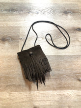 Load image into Gallery viewer, Kingspier Vintage - Small dark brown suede crossbody bag with fringe details.
