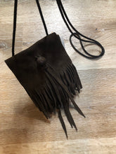 Load image into Gallery viewer, Small dark brown suede crossbody bag with fringe details.