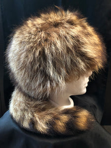 Vintage Raccoon Hat with Tail